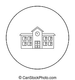 School icon outline. Single building icon from the big city infrastructure outline.