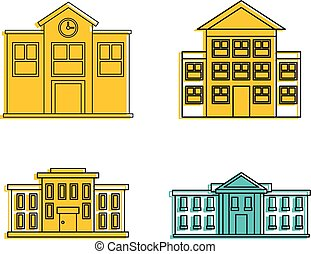 School icon set, color outline style