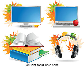 School icon set - High technology. Education and school icon...