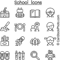 School icon set in thin line style