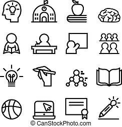 School icon set Line vector illustration