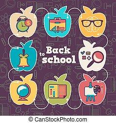 School icon set with apple form