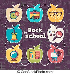 School icon set with apple form