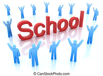 School icon with happy people around, isolated on white