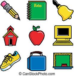 school icons 2 - Nine black glossy vector school icon...