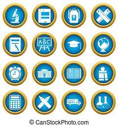 School icons blue circle set
