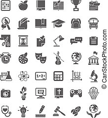 Set of dark silhouette icons of school subjects, educational and science symbols