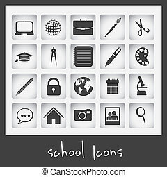 School icons - Illustration of useful icons and icons of ...