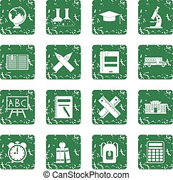 School icons set grunge