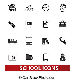 school icons set, vector