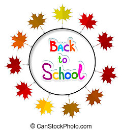 school.., illustra, quadro, costas, leaves., outono, vetorial, redondo