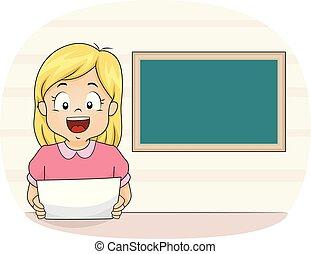 school, illustratie, nieuws, meisje, geitje, nieuwslezer