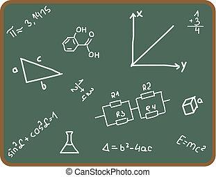 School - Illustration set of school symbols on chalkboard