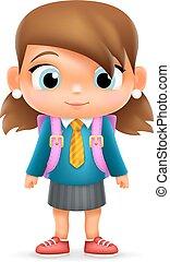 school, illustrator, karakter, vrijstaand, realistisch, vector, ontwerp, kind, 3d, meisje, opleiding, spotprent, pictogram