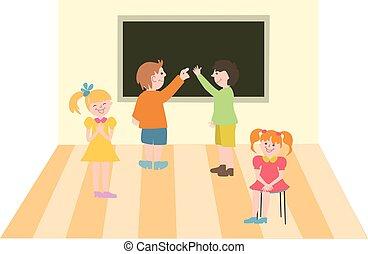 school., ilustração, crianças