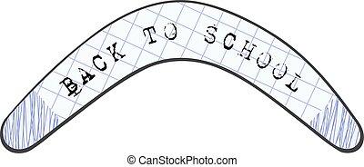 school., imagem, text., costas, desenho, crianças, boomerang, australiano, abstratos