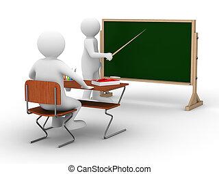 school., imagen, aislado, lección, blanco, 3d