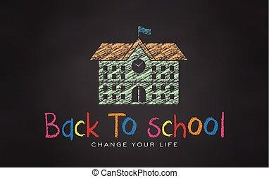 School in Chalk. Black board Back to school. Vector