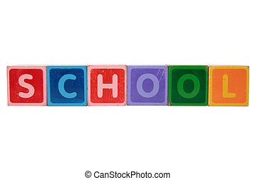 school in toy block letters