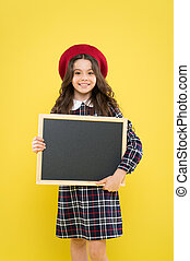 School information. Informing you. Expect the unexpected. Child promo information board. Place for information. Girl hold blank blackboard. Advertising product copy space. Back to school concept