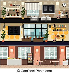 School interior vector flat poster set