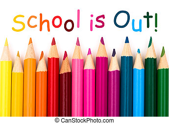 School is out - A pencil crayon border isolated on white...