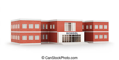 School, isolated on white background. 3D illustration