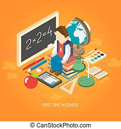 School isometric concept poster - First school day...