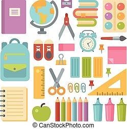 School items flat icon set. Back to school