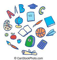school items hand drawn vector illustration
