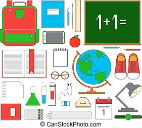 School items. Vector flat design concepts of education. Education school icons set