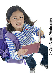 school, jong meisje, aziaat