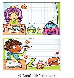 school, kaarten, 2