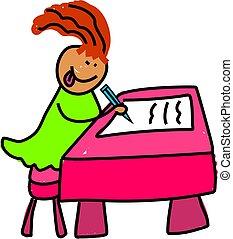 school kid - little girl learning to write - toddler art...
