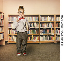 School Kid in Library, Child in Glasses with Book