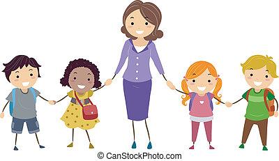 School Kids and School Teacher - Illustration of School Kids...
