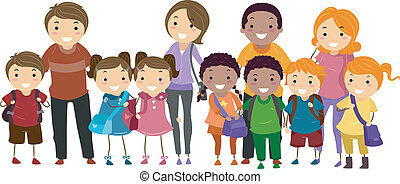 School Kids and Their Parents - Illustration of School Kids...