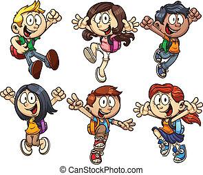 School kids - Cartoon school kids. Vector clip art...