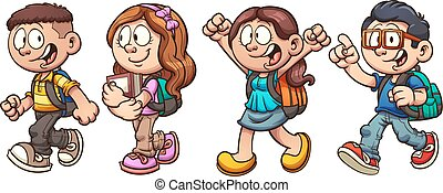 School kids - Cartoon school kids walking. Vector clip art...
