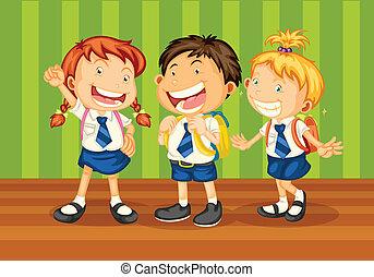 school kids - illustrtion of kids in school uniform on green...