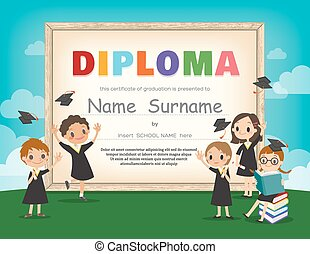 School Kids Diploma certificate design template