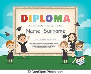 School Kids Diploma certificate design template