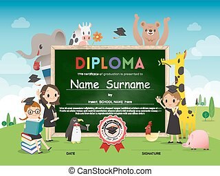 School Kids Diploma certificate template with animal cartoon frame border and green chalk board background illustration