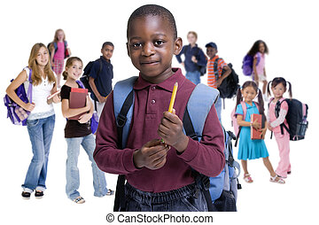 School Kids Diversity - Young kids are ready for school. ...