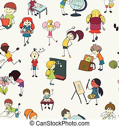 School kids doodle seamless pattern - School girls and boys...
