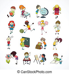 School kids doodle sketch - Decorative reading learning...