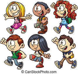School kids. Vector clip art illustration with simple...