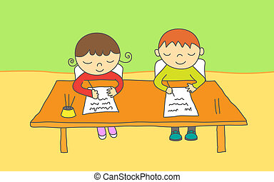 School kids - Girl and boy at school, taking an exam.