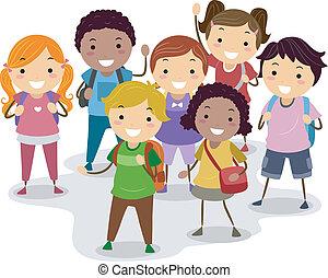 School Kids - Illustration of a Group of School Children
