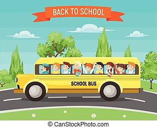 school kids in bus vector illustration
